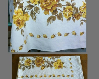 Vintage yellow rose tablecloth.