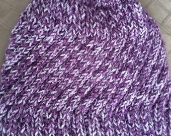 Twisted rib knit beanie in shades of pyrple