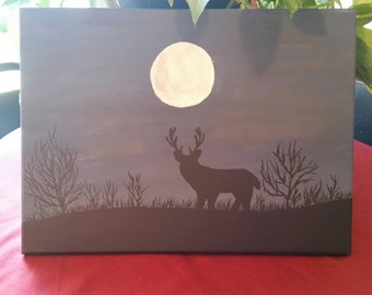 Deer solouette under full moon on canvas. 11x14