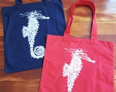 NEW! Summer beach tote Seahorse Canvas bags blue and red CHRISTMAS gift