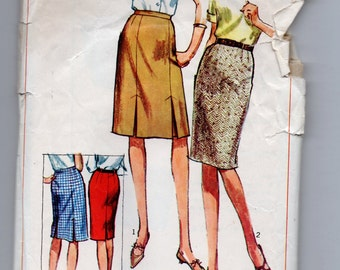 6742 Simplicity Sewing Pattern Slim or Gored Skirts 28 inch waist Vintage 1960s Side Zipper
