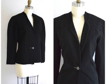 50s Wool Coat with Beaded Detailing/ Black Jacket with Nipped In Waist/ Pacific Blazer/ Women's Size Small