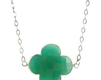 Green Onyx Quatrefoil Pendant