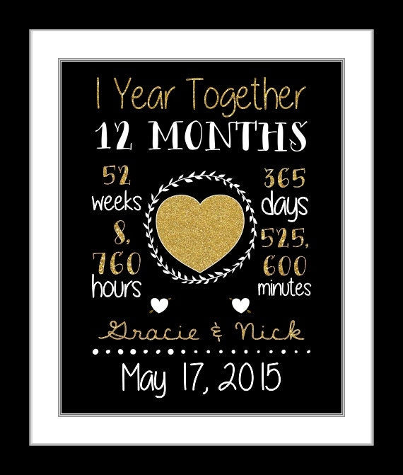 A1 year anniversary gift for him anniversary by printsinspired for 1st wedding anniversary gifts for men