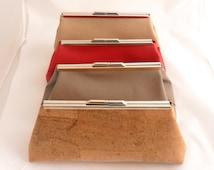 Cork Clutch Purse - Cork Handbag - Kisslock Clutch Purse - Handmade in Spain - Vegan Clutch