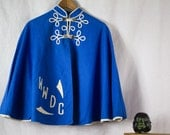 Rare Cornflower Blue Capelet with white details