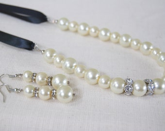 Pearl and Black Ribbon Necklace / Earring Set