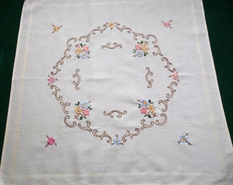Vintage ecru square tablecloth with floral embroidery beautiful embroidered Flowers table cloth