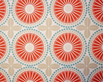 Scandinavian Fabric Swedish fabric Geometric fabric Fabric Canvas fabric Cotton canvas fabric Cotton fabric SPIRA Juline coral red