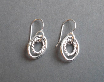 Sterling Silver Handmade Short Double Chain Link Earrings