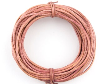 Two Tone Petal Pink Round Leather Cord 1.5mm 25 meters (27 yards)