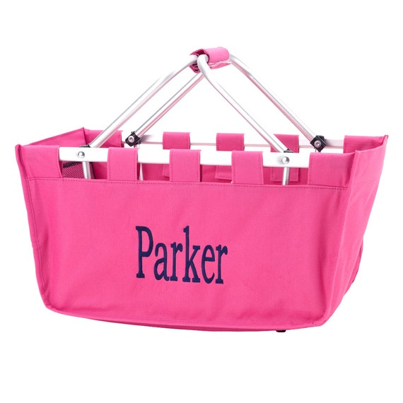 Pink Market tote picnic basket tote monogram basket tote personalized tote bag tailgate tote gameday bag college dorm shower caddy basket