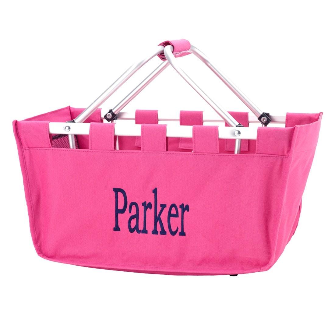 Pink Market tote picnic basket tote monogram basket tote ...