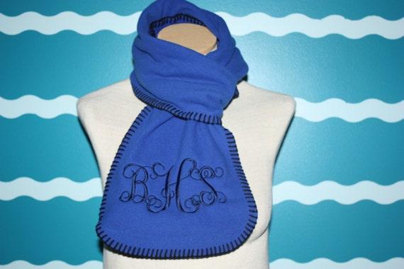 Monogrammed scarf - fleece monogrammed scarf - winter fleece scarf - personalized winter scarf - monogram fleece scarf- custom scarf