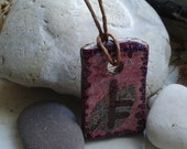 Rowan leaf ogham pendant necklace