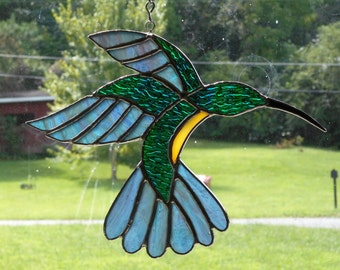Stained Glass Hummingbird Suncatcher - Handcrafted in Tennessee USA