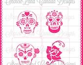 Day of the Dead skulls deco set cake stencils  4 pcs  -  cake decorating stencils sugar skull