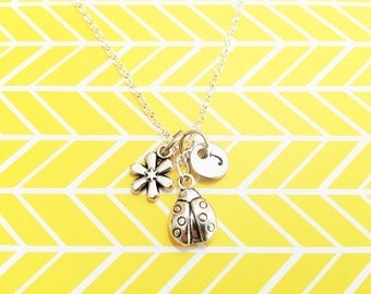 3D LADYBUG and flower charm necklace - all in silver tone - personalized with initial charm - choice of chains - ladybird necklace
