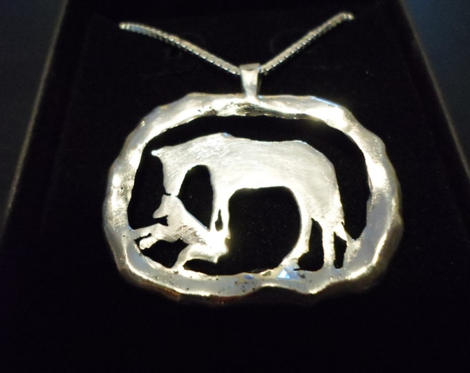 "Large 26mm- 34mm melted Horse and Foal w/20"" sterling silver chain"