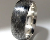 Mens Wedding Ring Sterling Silver Textured Domed Profile Band 8mm Wide