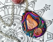 Crazy Lace Agate and Quartz Necklace