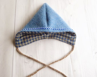 Wool Gnome Pixie Hat Recycled Materials Vintage Style Baby Hat
