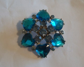 Blue Heart Brooch. Romantic Brooch. Heart Jewelry.
