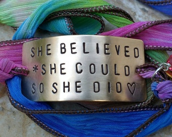 She Believed She Could So She Did Bracelet, Personalized Silk Ribbon , Boho Chic Silk  Wrap, Handstamped Jewelry, Personalized Bracelet