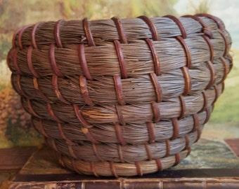 Antique Heavy Pine Needle Coil Basket
