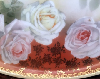 Antique Porcelain Tray Hand Painted Roses Pierced Edge Imprinted Germany