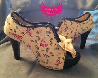song bird, customised shoes, retro shoes, retro heels, rockabilly shoes, quirky shoes, quirky heels, vintage heels, vintage shoes,