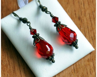Ruby red glass drop earrings