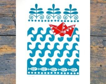 Little Boat / A3 Print / Art Print / Screenprint / Wall Decor / Wall Art / Scandinavian Art / Art For Kids / Nursery Art / Orginal Print