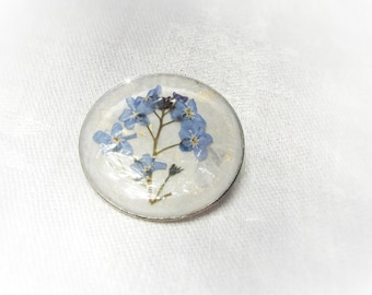 Silver plated Pressed flower Brooch Forget me not