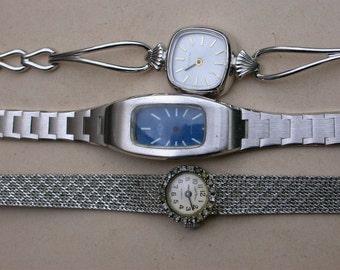 3 Pcs French vintage silver stainless steel twist watch frame pendant bracelet design charms bombe glass watch chain bracelet