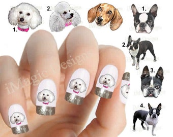 Nail Decals, Water Slide Nail Transfers, Nail Stickers, Dogs Photo Shoot - Poodle, Boston Terrier or Dachshund