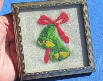 Vintage Embroidery Christmas Bell Small Frame
