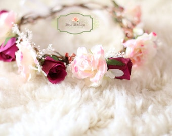 BEAUTIFUL,  Flower crown/ Head Wreath/ Bridal/ Photography Prop, Woodland Grapevine Floral Crown Head Wreath,