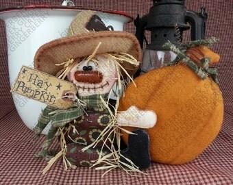 Hay Pumpkin! Scarecrow Pattern #154 - Primitive Doll Pattern - Thanksgiving - Fall - Autumn - Scarecrow - Pumpkin