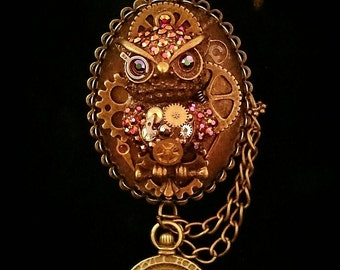 Steampunk Hooters special edition owl necklace