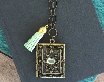 Gold Book Locket Necklace - Locket with Peridot Gem Necklace - Turquoise Tassel with Book Locket Necklace - Ornate Gold Locket Necklace