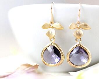 Purple Earrings Gold Earrings Gold Flower Earrings Gold Drop Earring Amethyst Earring Purple Bridesmaid Earrings Violet Purple Wedding Gift