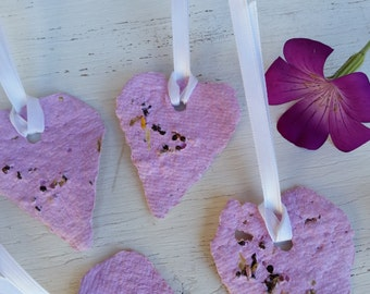 6 Pink Plantable paper hearts seed paper plantable paper flower seed agrostemma seed paper gift label gift for hostess seed bombs Corncockle