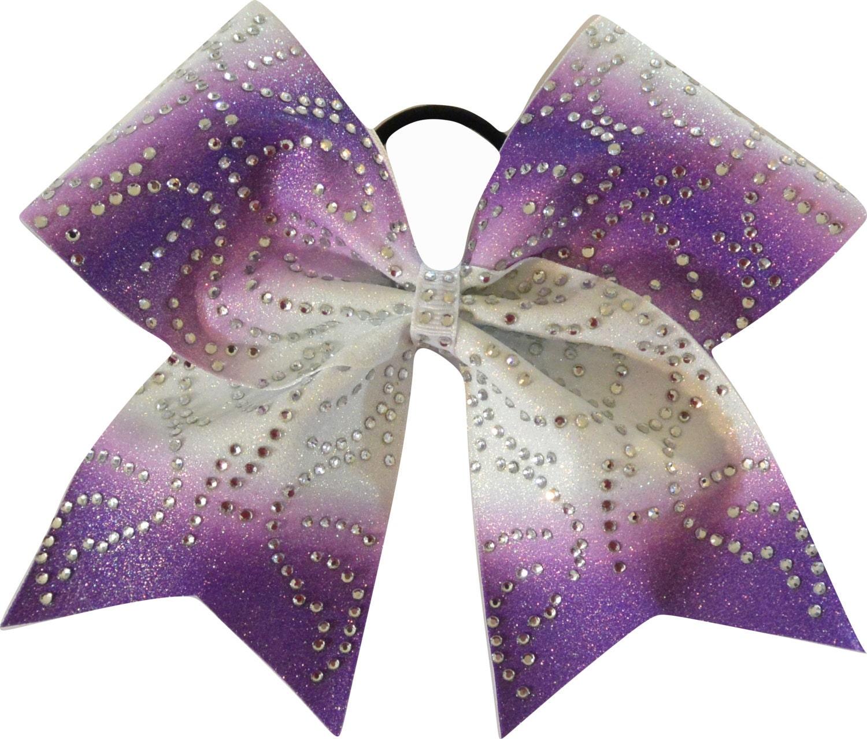 Purple Ombre Rhinestone Swirls Cheer Bow by SparkleBowsCheer