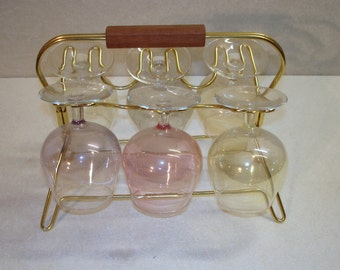 50s 60s Modernist STRING Wire Art CADDY w/ 6 Cognac Glasses, mouth blown, MCM, House Bar Accessory Germany