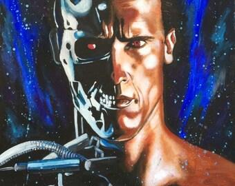 ORIGINAL PAINTING 'The Terminator - Half Man Half Machine'