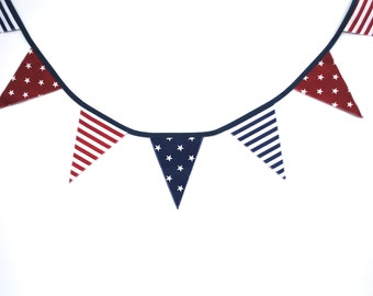 SALE 30% OFF Patriotic Bunting, Blue flags, navy blue flags, nursery decor, baby shower, striped flags, party flags, fabric flags
