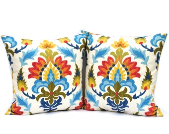 "Two Tappah pillow covers, 18"" cushion, decorative throw pillow, decorative pillow, accent pillow, Floral Pillow"
