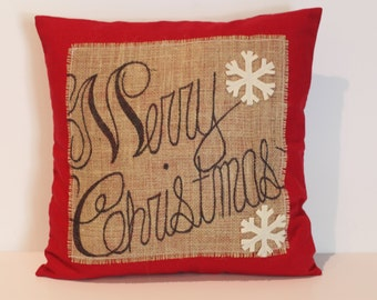 One 'Merry Christmas' Snowflake Pillow cover, 18x18, holiday pillow, decorative pillow, Christmas decoration