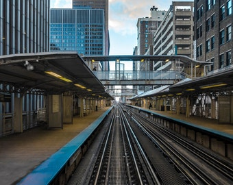 Enroute - Chicago - Cityscape - Street Photography - Fine Art - Elevated Train - Train Tracks - Chicago L - Chicago Skyline - Blue - Yellow